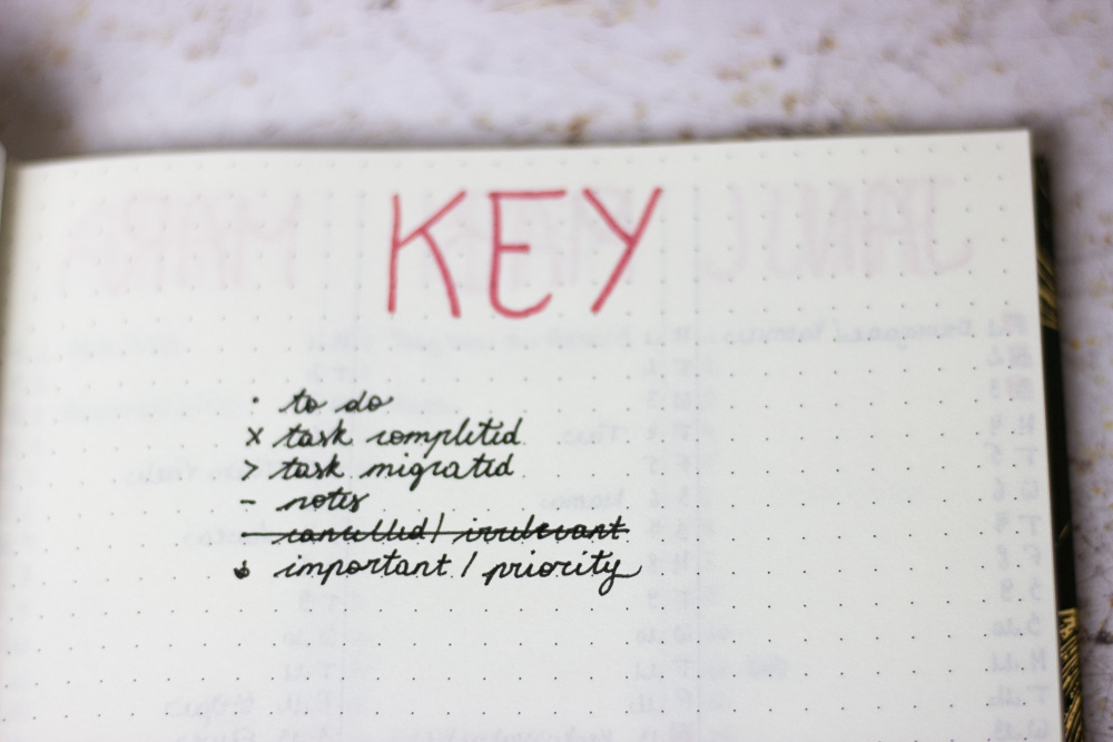 Example of a bullet journal key to organise your life