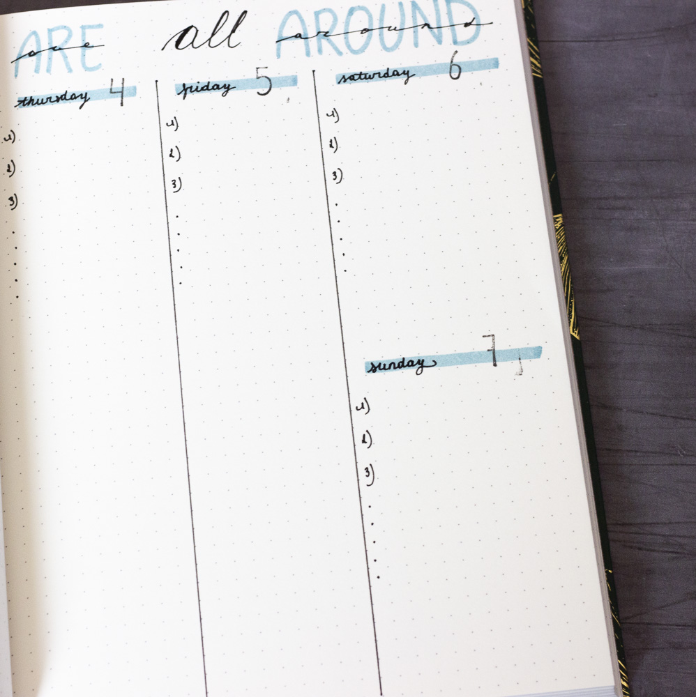 Option of an empty weekly overview to organise your life
